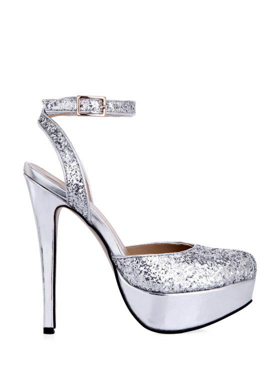 shops Round Toe Sequined Stiletto Heel Sandals - SILVER 36