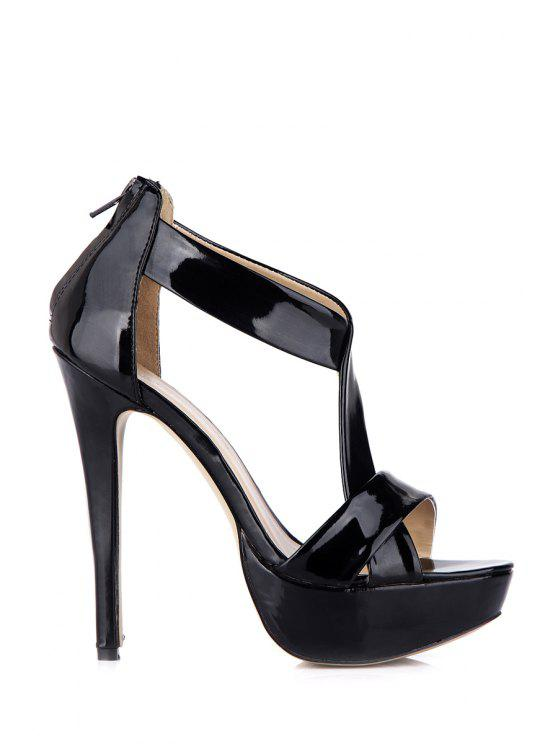 hot Sexy High Heel Patent Leather Sandals - BLACK 35