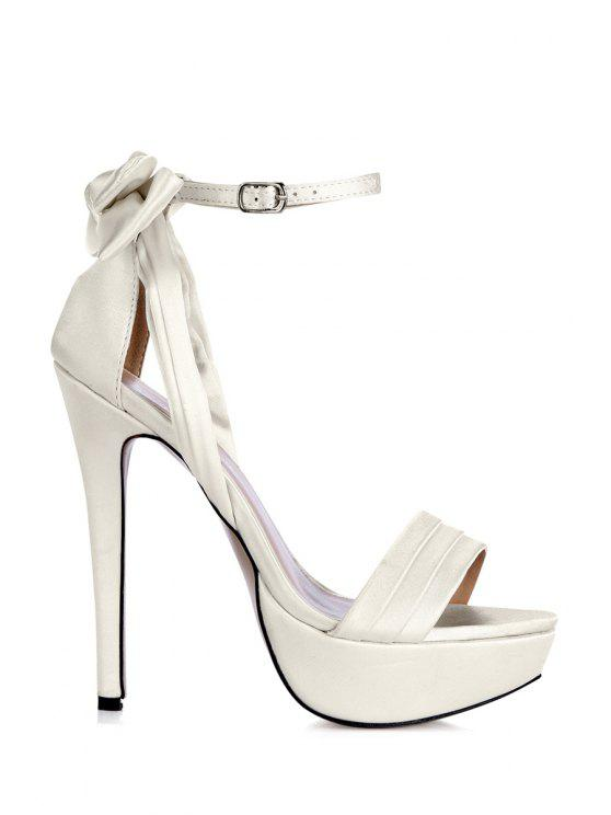 unique Satin Bowknot Sexy High Heel Sandals - WHITE 35