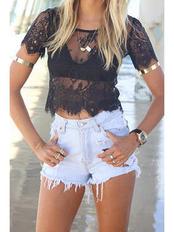 trendy Short Sleeve Lace T-Shirt - BLACK S