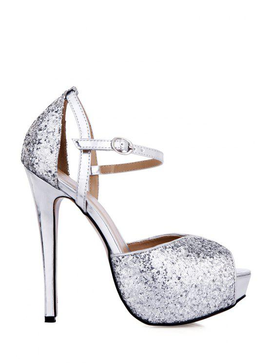outfit Peep Toe Sequined Buckle Stiletto Heel Sandals - SILVER 35