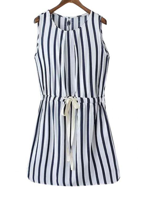 hot Stripe Tie-Up Sleeveless Dress - BLUE AND WHITE S