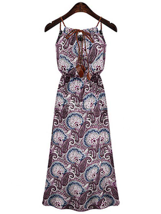 women's Paisley Print Spaghetti Strap Maxi Dress - PURPLE XL