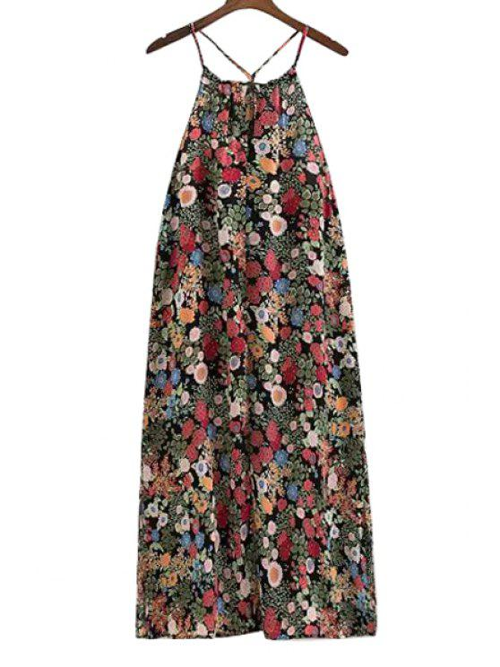 shop Spaghetti Strap Colorful Floral Print Backless Dress - COLORMIX S