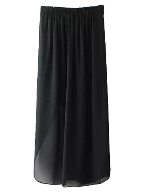 hot Black Side Slit Skirt - BLACK S