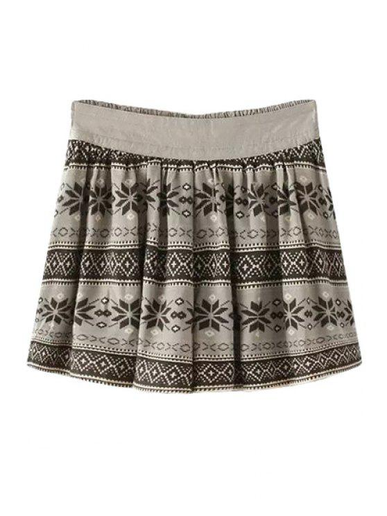 chic Ethnic Print A-Line Skirt - GRAY ONE SIZE(FIT SIZE XS TO M)