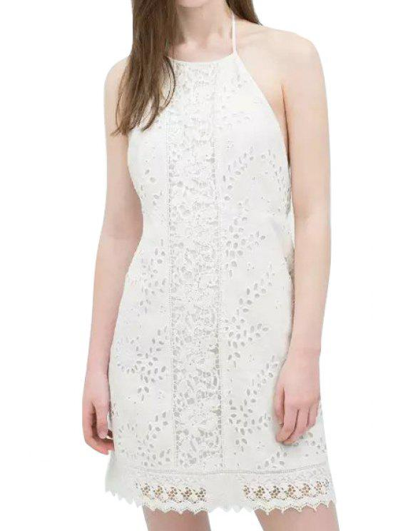 fashion Floral Pattern Openwork Backless Lace Sleeveless Dress - WHITE S
