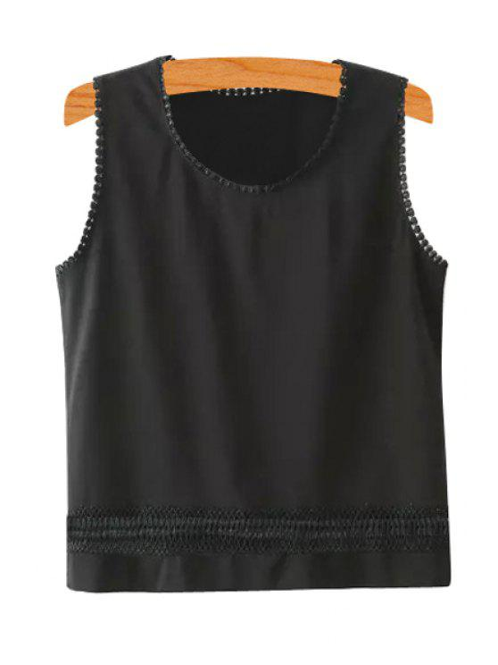 ladies Scoop Neck Lace Splicing Solid Color Tank Top - BLACK S