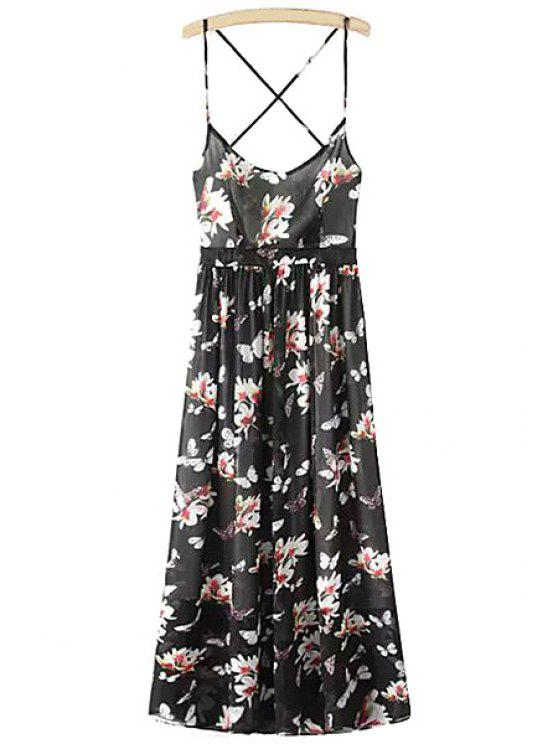 hot Spaghetti Strap Floral Open Back Maxi Dress - BLACK S