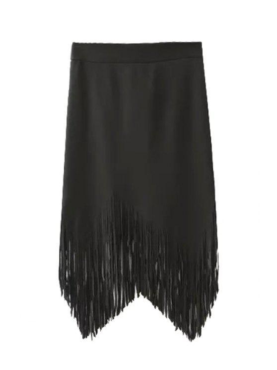 sale Solid Color Fringe Asymmetrical Skirt - BLACK S
