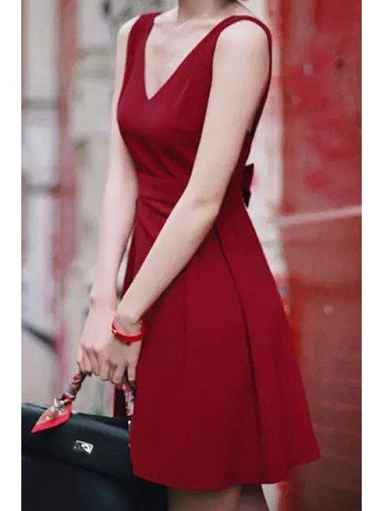 fashion Bowknot Sleeveless Backless Flare Dress - RED S