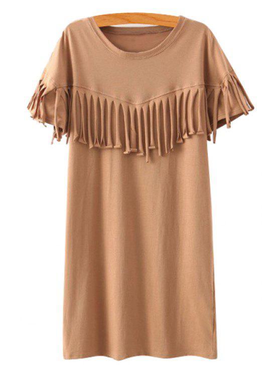 buy Solid Color Scoop Neck Short Sleeve Dress - KHAKI S