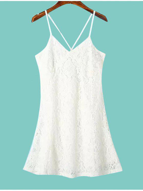 women's Spaghetti Straps Lace Backless Dress - WHITE S