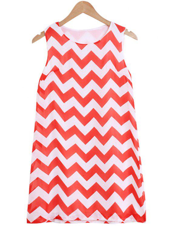 outfit Zig Zag Jewel Neck Sundress - RED WITH WHITE S