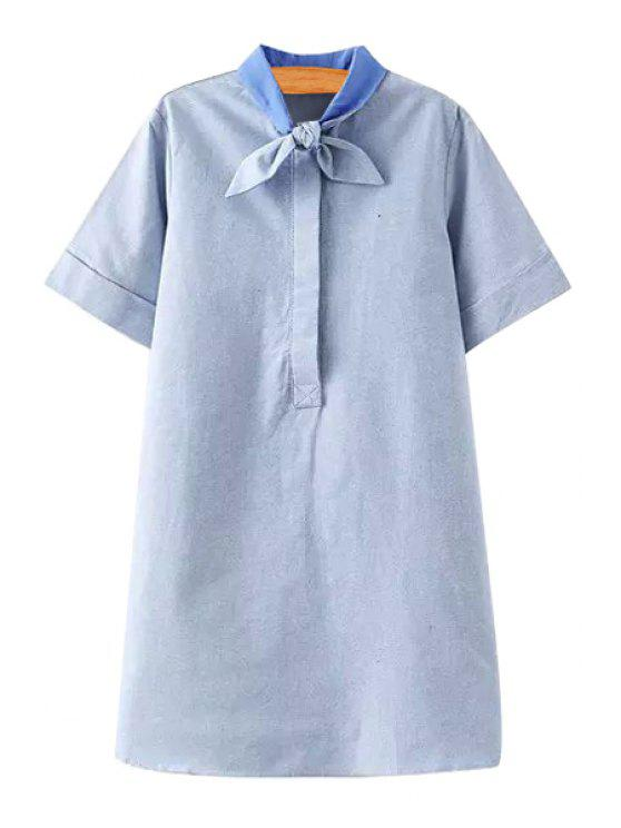 hot Solid Color Self-Tie Short Sleeve Dress - LIGHT BLUE S