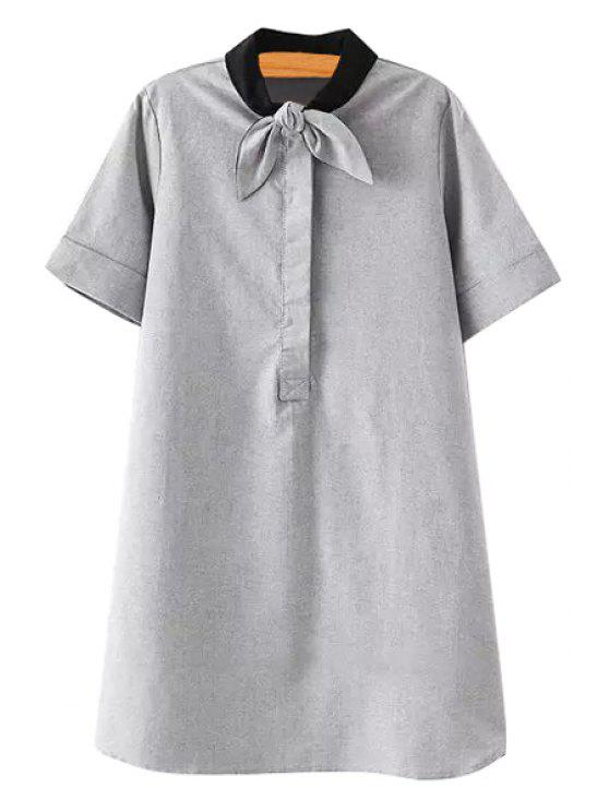 shop Solid Color Self-Tie Short Sleeve Dress - GRAY S