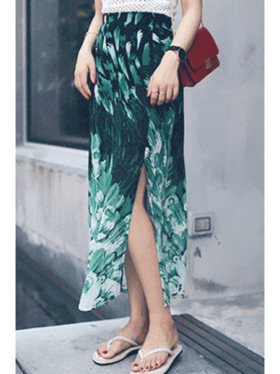 affordable Green Print High Waist Long Skirt - GREEN S