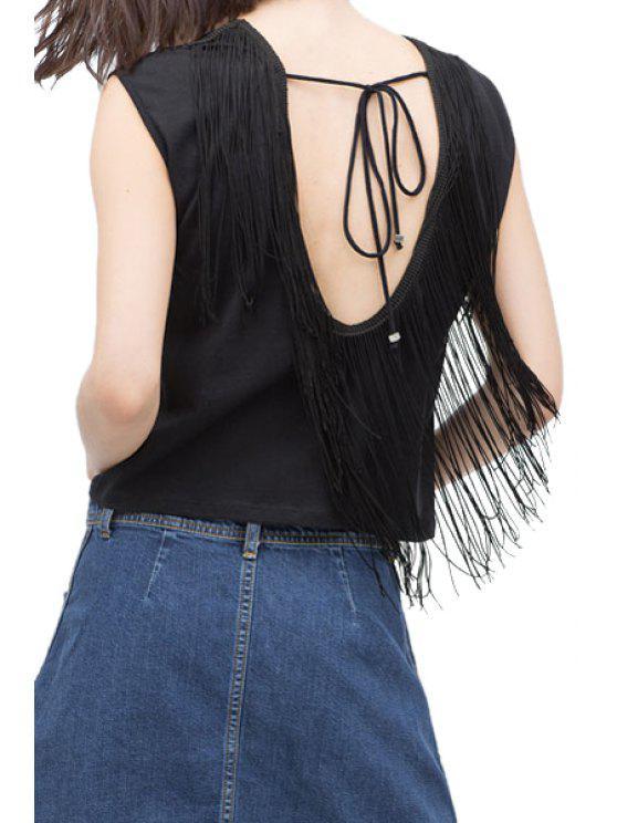 fancy Round Neck Sleeveless Backless Tassel Vest - BLACK S