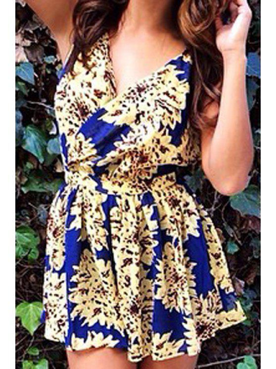 shops Floral Print Backless Sleeveless Dress - BLUE S