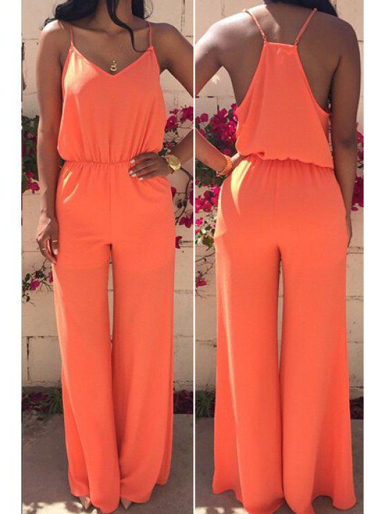 outfit Spaghetti Strap Solid Color Sleeveless Jumpsuit - ORANGE S