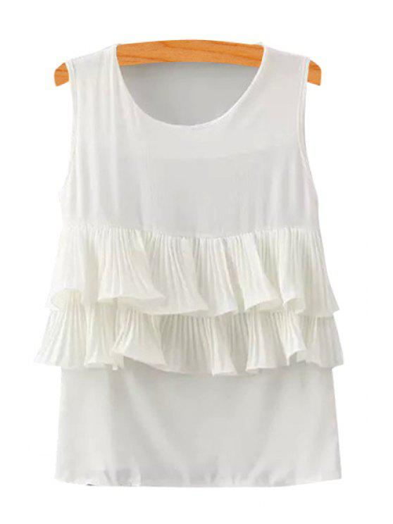 new Solid Color Ruffles Spliced Tank Top - WHITE S