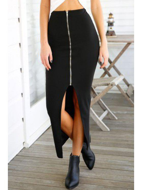 womens Solid Color Slit Zipper Long Skirt - BLACK ONE SIZE(FIT SIZE XS TO M)