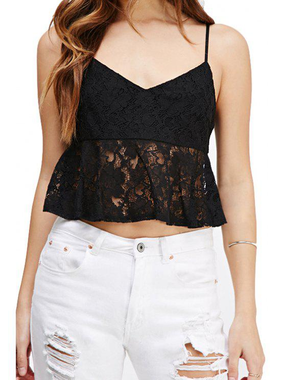 fashion Spaghetti Strap Solid Color Lace Splicing Tank Top - BLACK S