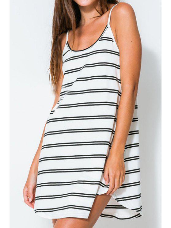 trendy White Striped Spaghetti Strap Dress - STRIPE S