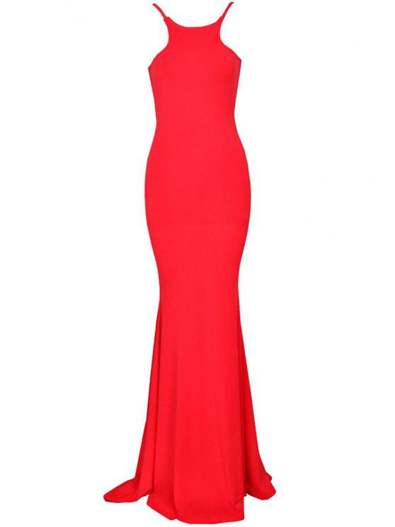 shops Solid Color Open Back Maxi Dress - RED S