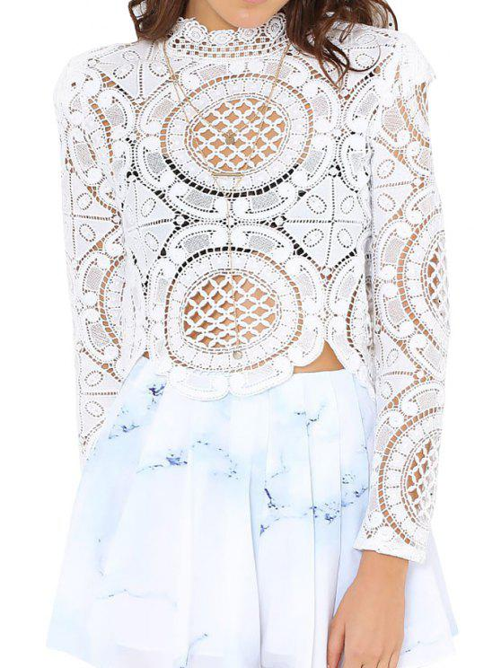 outfits Solid Color Openwork Long Sleeve Blouse - WHITE S