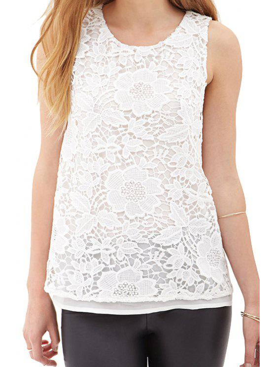 best Floral Pattern Multi-Layered Tank Top - WHITE S