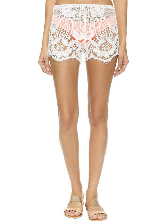 outfit Lace Drawstring Solid Color Shorts - WHITE S
