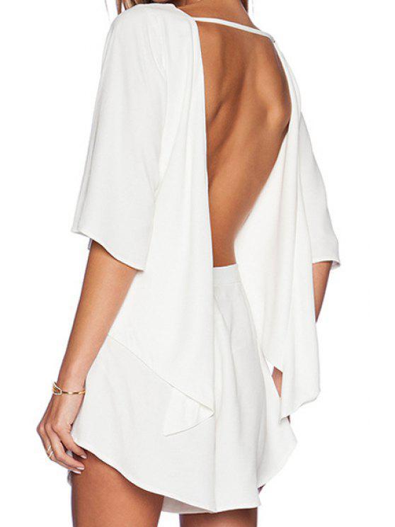 best White Open Back Half Sleeve Romper - WHITE S