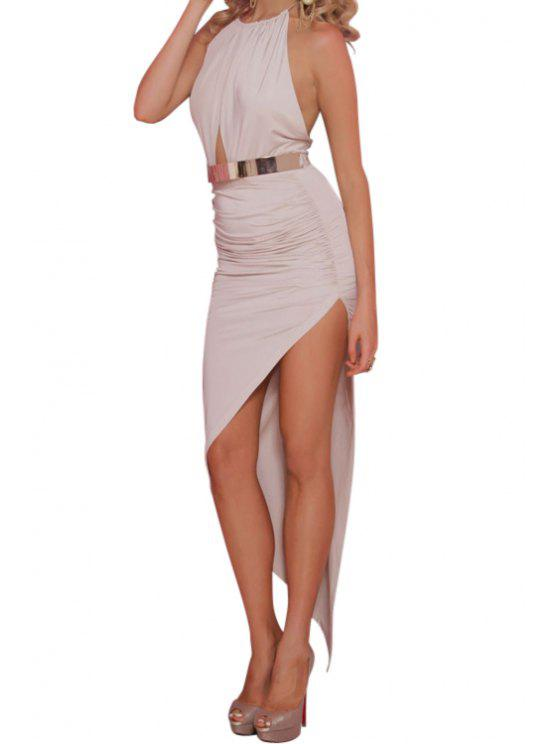 trendy Halter Solid Color Backless Bodycon Dress - WHITE S