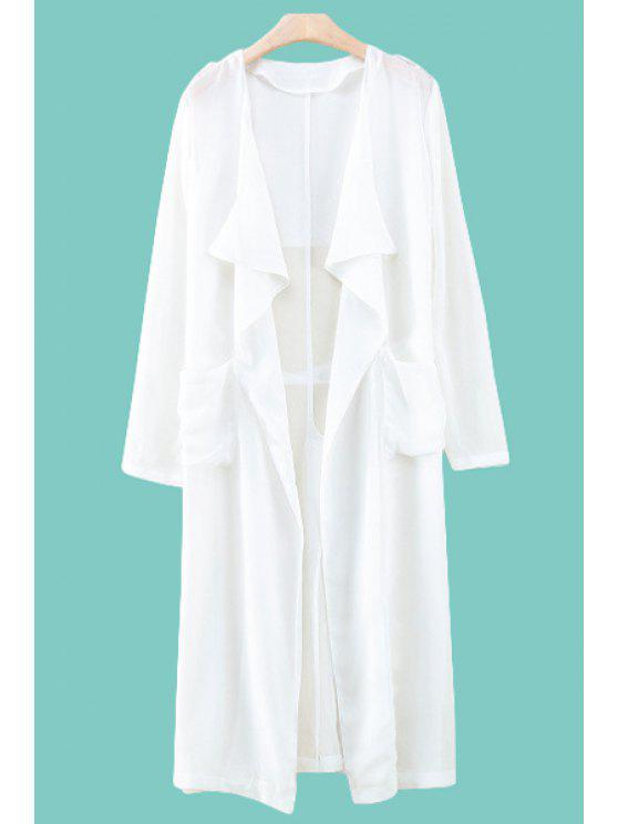 chic Solid Color Pocket Long Sleeve Blouse - WHITE S