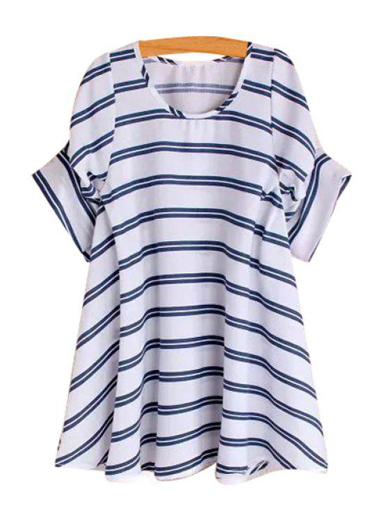 women Stripe Loose-Fitting Short Sleeve Dress - BLUE ONE SIZE(FIT SIZE XS TO M)