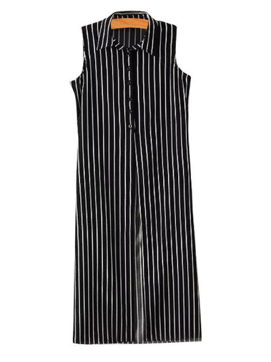hot Stripe Sleeveless Long Shirt - WHITE AND BLACK S