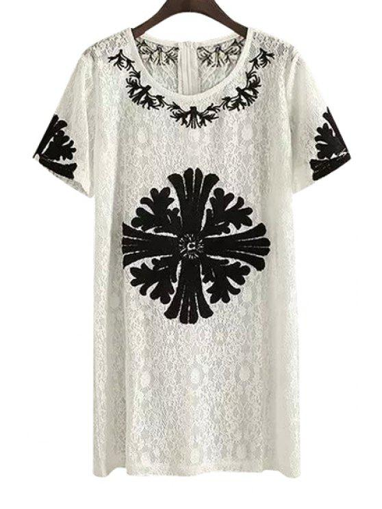 women's Embroidery Lace Short Sleeve Dress - WHITE S