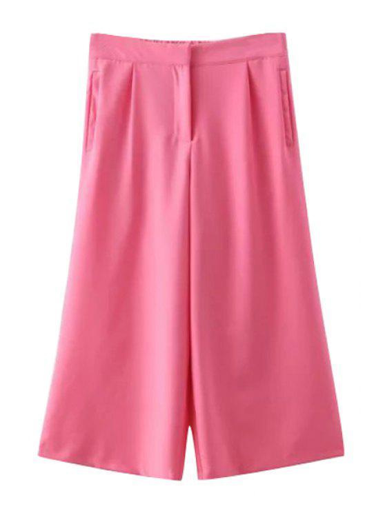 unique Solid Color Wide Leg Ninth Pants - PINK M