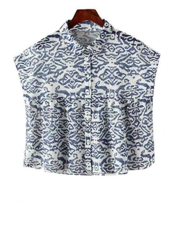 best Print Turn-Down Collar Sleeveless Shirt - BLUE AND WHITE S