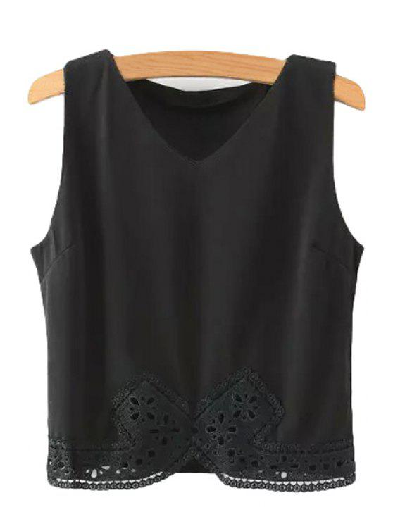 hot V-Neck Lace Spliced Tank Top - BLACK M