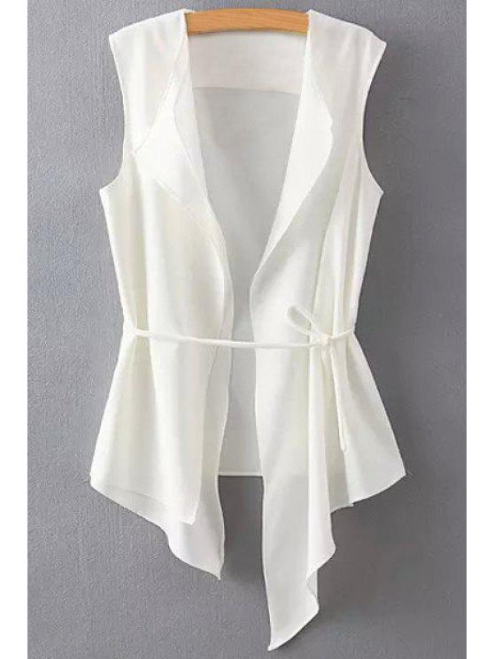 hot Solid Color Asymmetrical Tie-Up Waistcoat - WHITE L