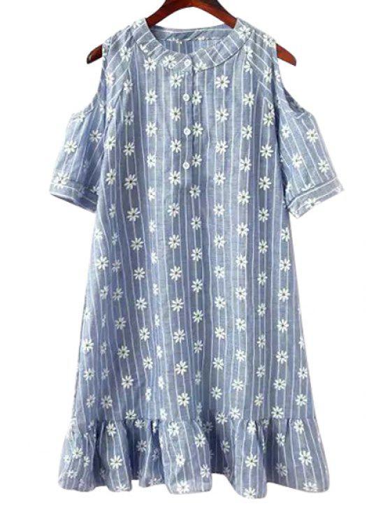 online Flower Print Short Sleeve Ruffles Dress - BLUE S