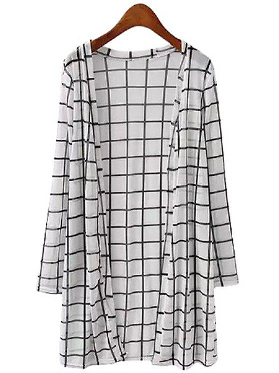 chic Plaid Print Color Block Long Sleeve Blouse - CHECKED ONE SIZE(FIT SIZE XS TO M)