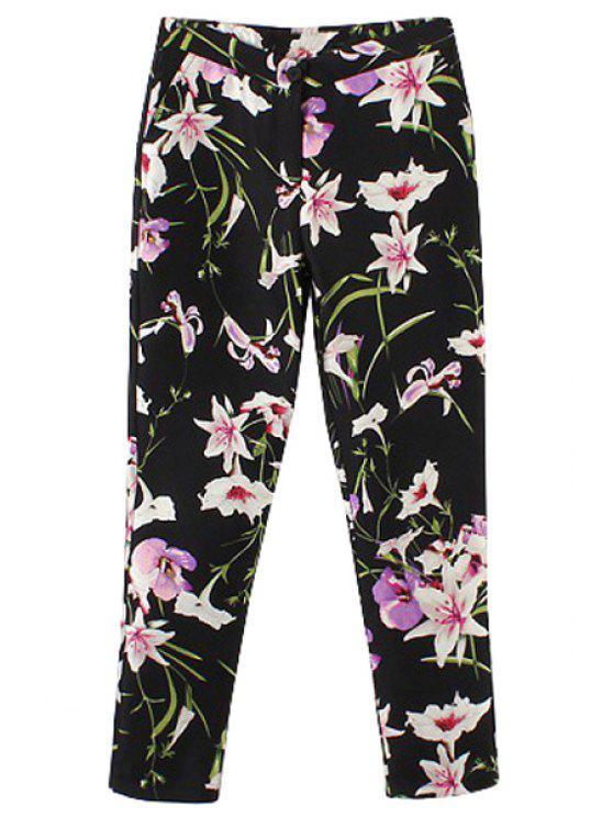 women's Full Floral Print Straight Leg Pants - BLACK S