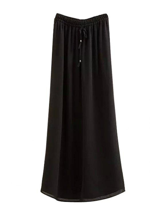 women Solid Color Elastic Waist Drawstring Skirt - BLACK S