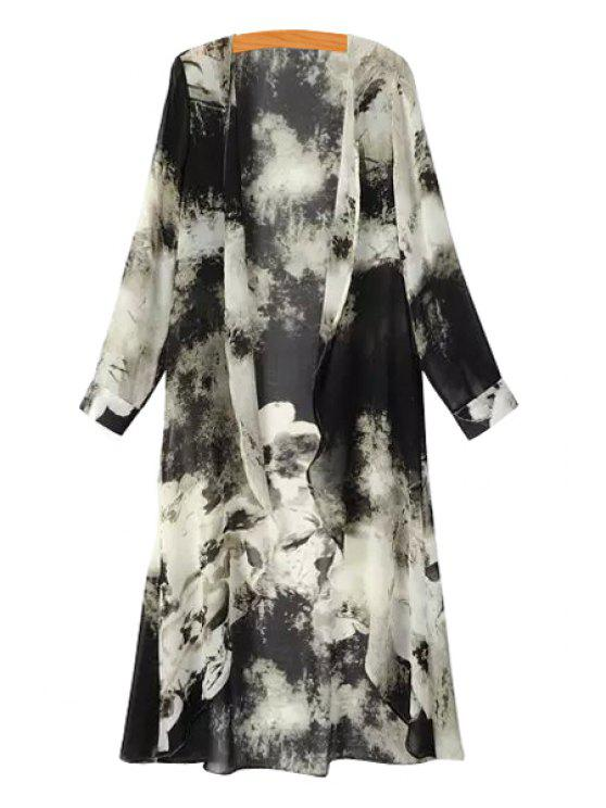 new Color Block Ink Print Asymmetrical Blouse - WHITE AND BLACK M