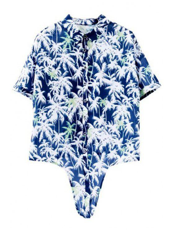 hot Short Sleeve Coconut Palm Print Shirt - BLUE AND WHITE S