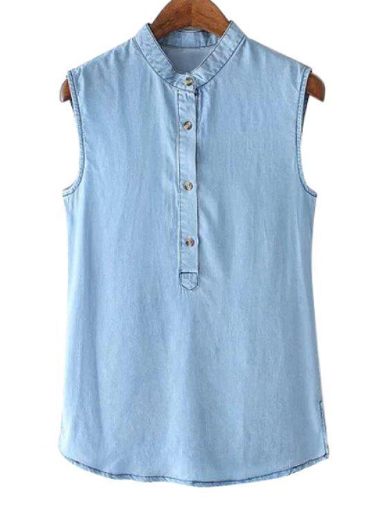 shop Blue Denim Sleeveless Shirt - BLUE S