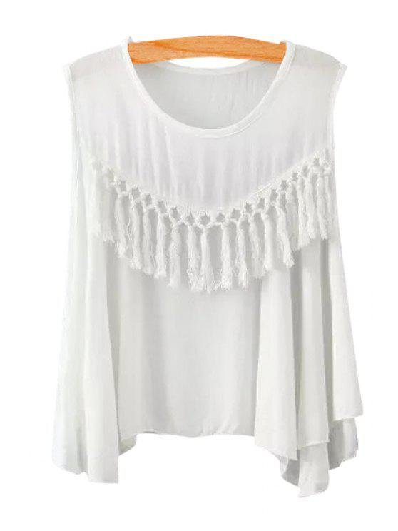 new Solid Color Tassel Splicing Sleeveless Tank Top - WHITE S